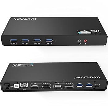 WAVLINK USB 3.0 Universal Laptop Docking Station,USB C to 5K/ Dual 4K @60Hz Video Outputs Dual Monitor for Windows and Mac 2 HDMI & 2 DP Gigabit Ethernet 6 USB 3.0,Audio