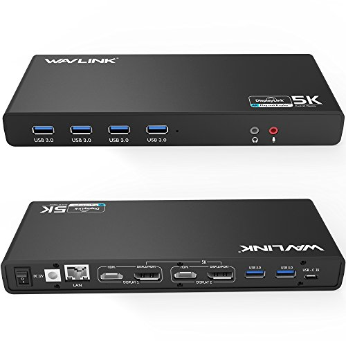 WAVLINK USB C&3.0 Ultra 5K Docking Station HD Dual Video Multifunción Display con USB-C in,2x5K DP Puertos y 2x4K HDMI Puertos, 6xUSB 3.0, Gigabit Ethernet, Audio out y Mic in