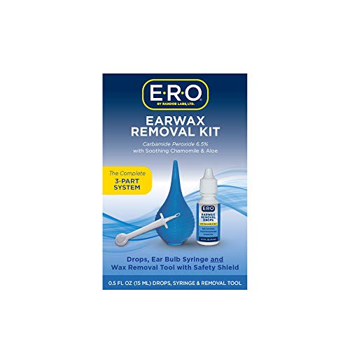 ERO Earwax Removal Kit for Complete Ear Care, with Carbamide Peroxide Earwax Removal Drops (0.5 fl oz), Ear Bulb Syringe and Ear Wax Removal Tool with Safety Shield