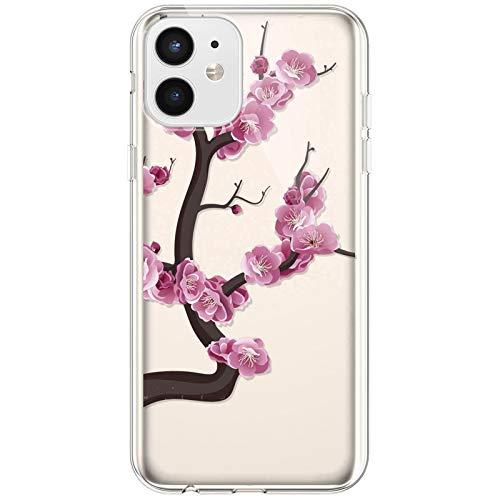 Kompatibel mit iPhone 12 Mini Hülle,Transparente Silikon TPU Handyhülle Crystal Clear Durchsichtig Schutzhülle Blumen Bunt Muster Ultra-dünn Weiche Stoßfest Bumper Case Tasche,Pinke Blume