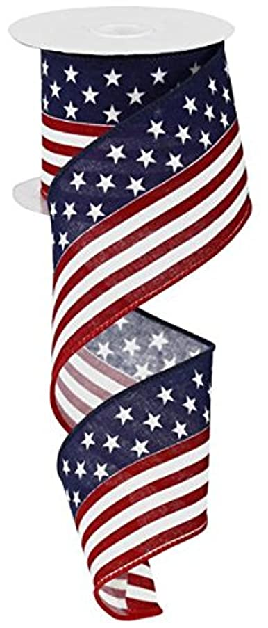 Stars and Striped Flag Wired Edge Ribbon (2.5