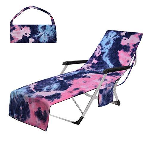 Toalla para silla de playa con bolsillos laterales, funda colorida para tumbonas, piscina, sol, jardín, playa, hotel, de gran tamaño, 210 x 74 cm