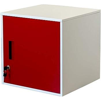 キューブBOX鍵付ロッカー キューブボックス 扉付き レッド JAC-04RD