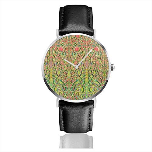 Armbanduhr Quarzuhr Stone Vine On Wall V2 C2 Freizeituhren mit schwarzer Lederuhr