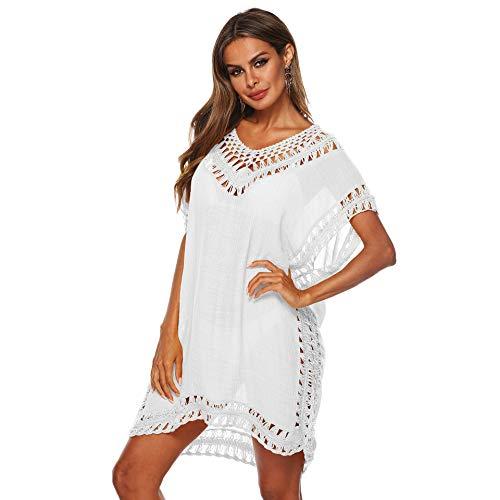 Uniquestyle Robe de Plage Maillot de Bain Femme Ete Blanche Crochet Boheme Pareo Transparente Blanc