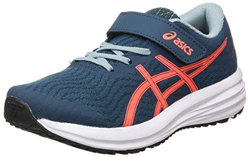 Asics Patriot 12 PS, Zapatos para Correr Unisex niños, Magnet Blue/Sunrise Red, 27 EU