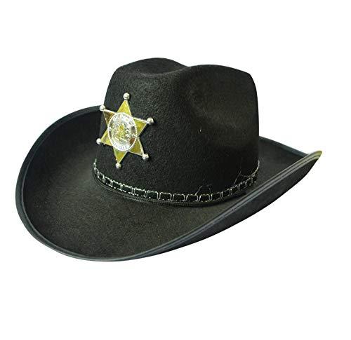 GossipBoy Festliche Performance Hat Western Cowboy Hut Strand Sonnenschirm Reise Hut Männer Und Frauen Kinder Fünfzackierter Sternhut Sheriff Hut-schwarz