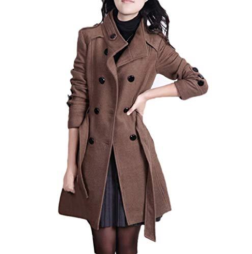 LONUPAZZ Mode Femme Hiver Chaud Bouton Veste à Manches Longues Coupe-Vent Manteau avec Ceinture