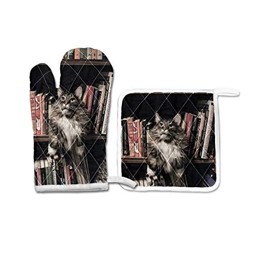 Ofenhandschuhe und Topflappen, Set mit 2 hitzebeständigen Grillhandschuhen, Geschenk zum Backen, Grillen, Katze und Bücher