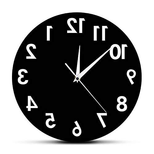 guyuell Reverse Unusual Numbers Wanduhr Rückwärts Moderne Dekorative Uhr Watch Excellent Timepiece Für Ihre Wand
