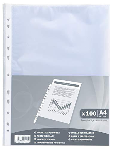 Exacompta 5111E - un sachet de 100 Pochettes perforées polypropylène grainé 38 Microns 21x29, 7 cm