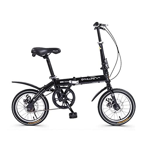 ZXQZ Bicicleta Plegable de 14 Pulgadas, Bicicleta Plegable de Una Sola Velocidad para Niños Adultos, Bicicleta MTB con Freno de Disco (Color : Black)
