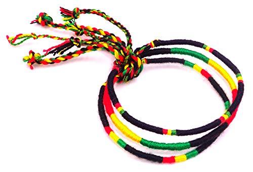 Lote de 3 pulseras brasileñas de la amistad, macramé de algodón Friendship, amuleto de la suerte rasta reggae Bob Marley Jamaica, amarillo, negro y rojo