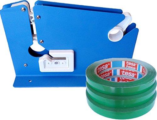 Beutel-Verschließer Beutelverschlussmaschine mit Schneidevorrichtung inkl. 3 Marken Beutel-Verschlussrollen grün