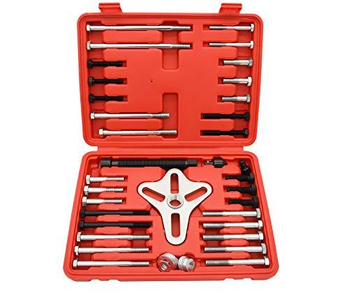 NAKAO Harmonic Balancer Puller Tool Kit - Flywheel Puller, Crankshaft Pulley Removal, Steering Wheel Pulling Set(46 Piece)