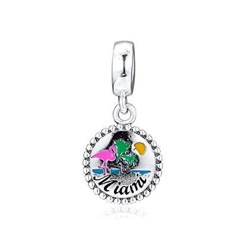 LIIHVYI Pandora Charms para Mujeres Cuentas Plata De Ley 925 Fabricación De Joyas De Bricolaje con Esmalte Mixto En Miami Beach Bijoux Compatible con Pulseras Europeos Collars