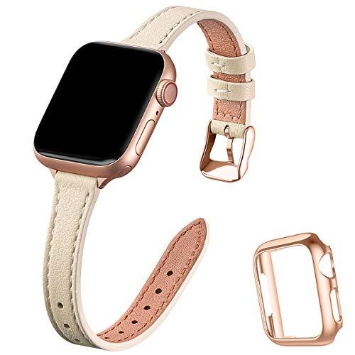 SUNFWR compatible con correa de reloj Apple de 38 mm, 40 mm, 42 mm, 44 mm, correa de cuero genuino, pulsera delgada y delgada para iwatch Series 6/5/4/3/2/1, SE (38 mm 40 mm, Lvory White & Rosegold)