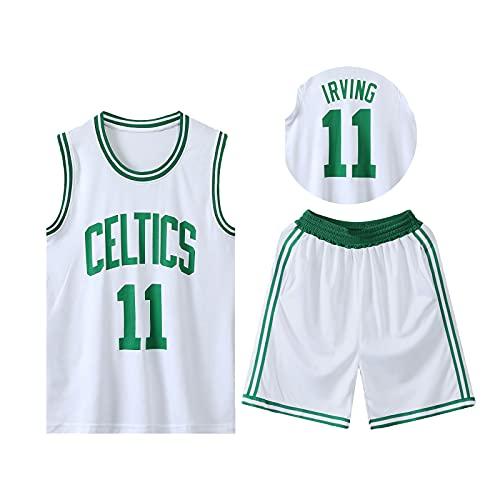 HAZYJT Traje de Baloncesto de Jersey - Boston Celtics - # 11 Kyrie Irving Sudadera y Pantalones Transpirables sin Mangas, Trajes para Hombres y Mujeres, White-4XL(180~190cm)
