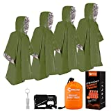 ANTARCTICA Emergency Blanket Poncho 4 Pack Lightweight Waterproof Thermal Gear Raincoat Survival Equipment for Outdoor Activity Camping and Hiking (Green)