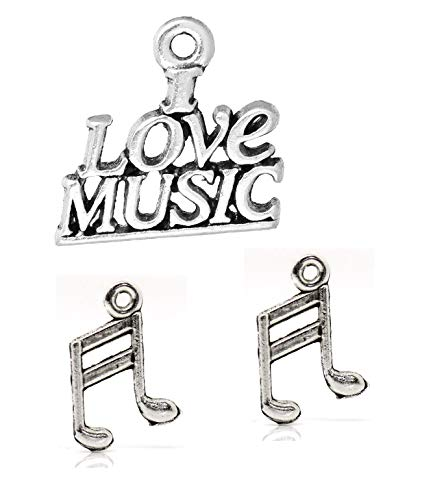Musical Instrument Band Charms 110 Pack, Silver Tone (94 Note and 16 I Love Music Pendants)