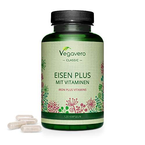 Hierro Vegavero® | Apto Para Veganos | 14 mg=100% CDR | Con Vitamina C + B12 + B2 + B6 + Ácido Fólico | Sin Aditivos | 120 Cápsulas | Anemia + Menstruación + Energía* + Cansancio