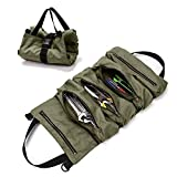 Super Tool Roll Up Bag, Tool Bags For Men, Wrench Roll With 5 Zipper Pockets, Canvas Tool Bag for Mechanics, Motorcycle Tool Pouch, Hanging Tool Zipper Carrier Tote, Car Camping Gear - Tool Roll Box