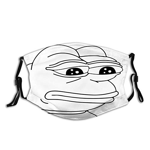 Comfortable Windproof mask, Melancholic Frog Meme Cartoon Almost Crying Emotion Expression Design Print,Printed Facial decorations for adult