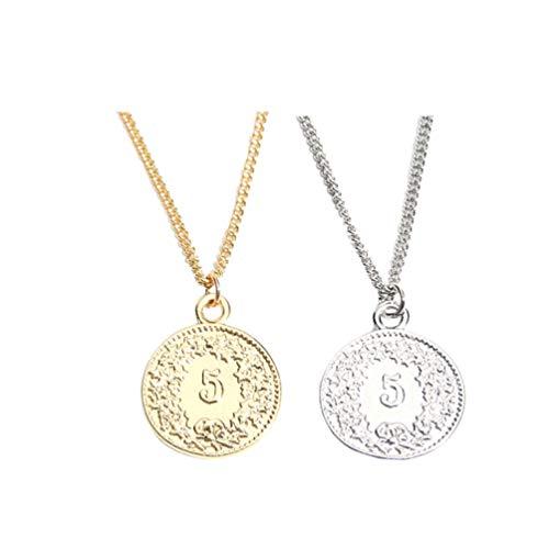 Holibanna Collar de Monedas Encantos de Dólar Colgante Collar de Cadena de Clavícula Decorativo Vintage Torque Joyería para Mujeres Dama Niña 2 Piezas