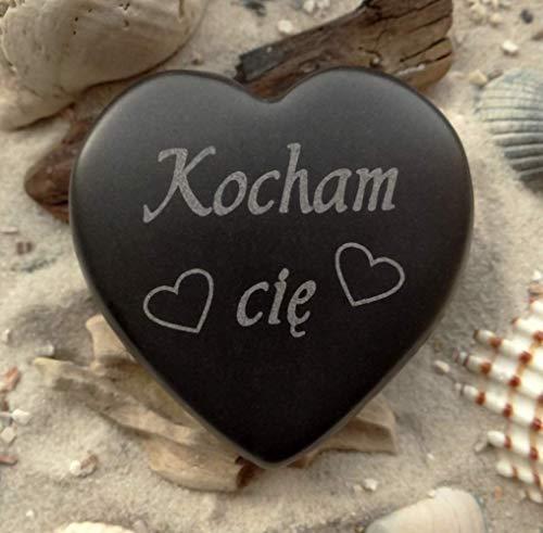 Herz Kocham cię polnisch Ich liebe Dich Stein Gravur