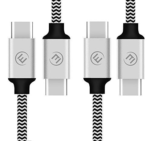 EVOMIND USB C auf USB C Kabel in Nylon [2x2M] USB Type C 3.1 Gen1 Ladekabel und DatenKabel für Samsung Galaxy S8 / S9 / Note 8 / Tab S3/S4, Huawei P10 / P20, und andere Typ-C-Geräte - 2x2M Silber