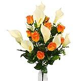 Herran Fiore Artificiale 24pcs / Set Fiori Artificiali Calla Lily Rose Mazzo Fiori Finti Bouquet Tavolo Decorazione di Cerimonia Nuziale Domestica Nuziale del Mazzo (Arancia)