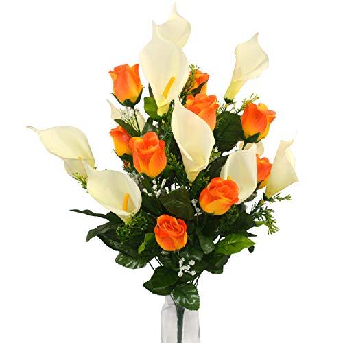 Herran Fiore Artificiale Set Fiori Artificiali Calla Lily Rose Mazzo Fiori Finti Bouquet Tavolo Decorazione di Cerimonia Nuziale Domestica Nuziale del Mazzo 24pz