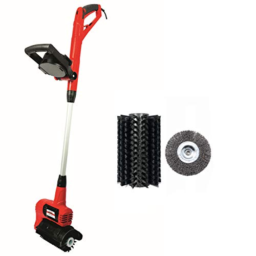 Grizzly Tools Elektro Universal-Reinigungsbürste ERB 550 - Flächenreiniger für Stein, Beton, Terrassen, Fugen - Fugenbürste gegen Unkraut im Set mit 2 Bürsten