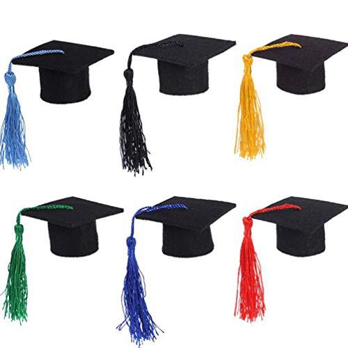 STOBOK Mini-Doktoral-Kappen-Form, Weinflaschen, 6 Stück, dunkelblau, Miniatur Kappe, Quaste, Weinflaschen, Abschluss-Kappe, Party-Ornament, 5,5 x 5 x 3,2 cm