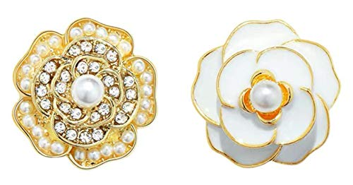 SUJAYU Camellia Flower Fashion Stud Earrings with Layer Sense, Fairy Jewelry Gift for Women & Girls (White+Gold)