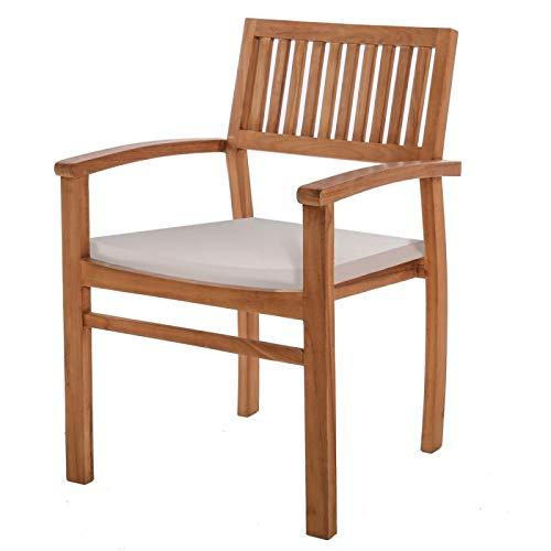 Générique Lot de 2 fauteuils de Jardin en Teck et Coussin Blanc KENITA - L 57 x l 54 x H 90