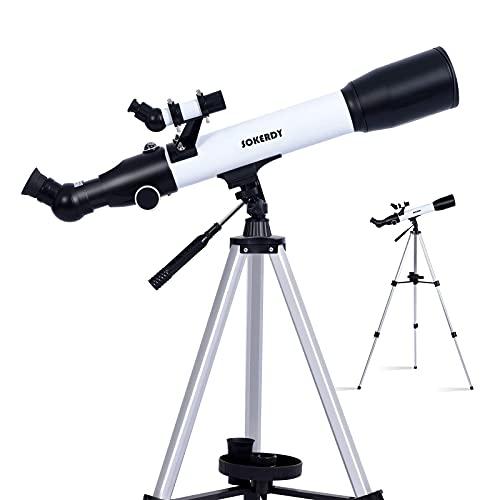 天体望遠鏡 F50070 屈折式 経緯台 太陽観測フィルター トラベルスコープ 子供や初心者用 大口径70mm 焦点距離400mm 日食観望グラス 接眼レンズ2個(K10 mm、 K25mm) 軽量 HD高倍率 スマホ撮影 天体観測 太陽黒点観測 野鳥 観察 三脚付き (白い)