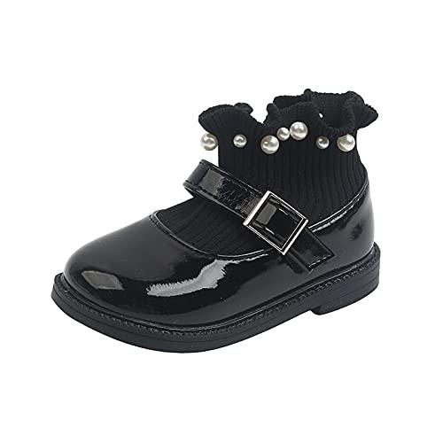 Zapatos para bebé, niñas, botines de otoño e invierno, calcetines de punto, botines con perlas, zapatos de princesa, zapatos infantiles, botines de piel, Negro , 26 EU