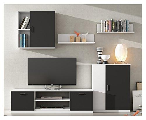 HOGAR24 Mueble de salon Moderno Modular Lacado Blanco y Negro.