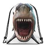 Lmtt Mochila con cordón Tiburón que muerde diseños 3d Bolsa de viaje Mochila deportiva para gimnasio