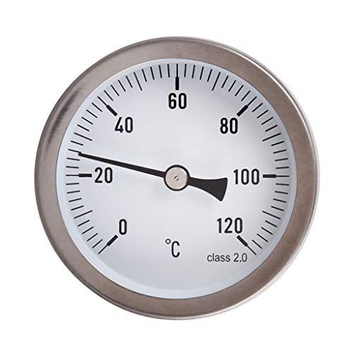 FENXIXI Termómetro analógico de 63 mm, termómetro horizontal, indicador de temperatura de aluminio de 0 a 120 °C