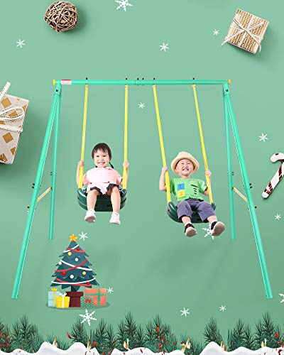 MaxKare Swing Set Metal Outdoor Play Swing Set 2 Seats for 1-12 Year Old Kids, Toddlers, Heavy Duty Unit Seater Pack with PVC Coated Chains Backyard Playground Field Max Weight 200 LBS, 100 LBS Each