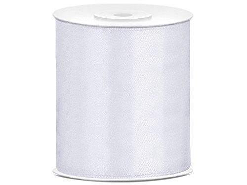 SiDeSo® Satinband 25m x 100mm viele Farben Hochzeit Dekoband Geschenkband Antennenband Schleifenband (weiß)