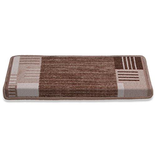 casa pura Stufenmatten mit Zeitloser Musterung | beige | Qualitätsprodukt aus Deutschland | GUT Siegel | kombinierbar mit Läufer | 65x23,5cm | rechteckig | einzeln oder im Set (15er-Set)