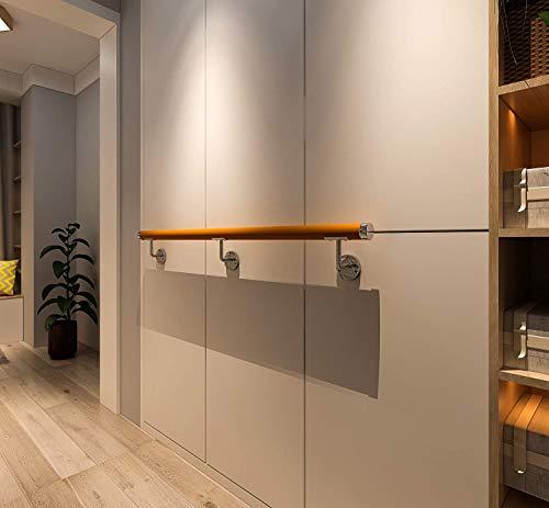 DIYHD Corrimano in PVC moderno in legno di colore giallo da 152 cm con 3 staffe per binari, corrimano per scale per montaggio a parete