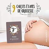 Cartes étapes Mois de Grossesse - 9 mois de Grossesse, Cartes à photographier Mon Baby Bump/Ventre de Femme Enceinte, carte étape - Lot de 9 cartes en papier haut de gamme - thème Fleurs