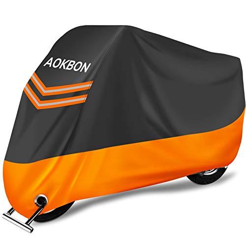 AOKBON Telo Coprimoto Impermeabile Universale Telo per Moto Anti-UV Resistente ad Foglie Polvere Vento Pioggia con 1 Borsa Trasporto arancia