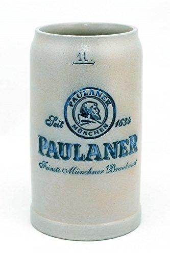 Bavariashop Steinkrug Paulaner salzglasiert - 1,0 Liter - salzglasierter Keferloher Bierkrug