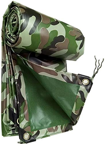 FFJD Large Camo Tarpaulin for Sun and Rain PVC Coated Cloth Tarpaulin Tear Resistant Aging Resistant Waterproof Durable Tarp-6m×6m