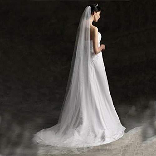 kdjsic 3 M / 5 M de una Sola Capa para Mujer Blanco Largo Velo de Boda Minimalista Simple Lujo Catedral Velo de Novia Accesorios de Matrimonio